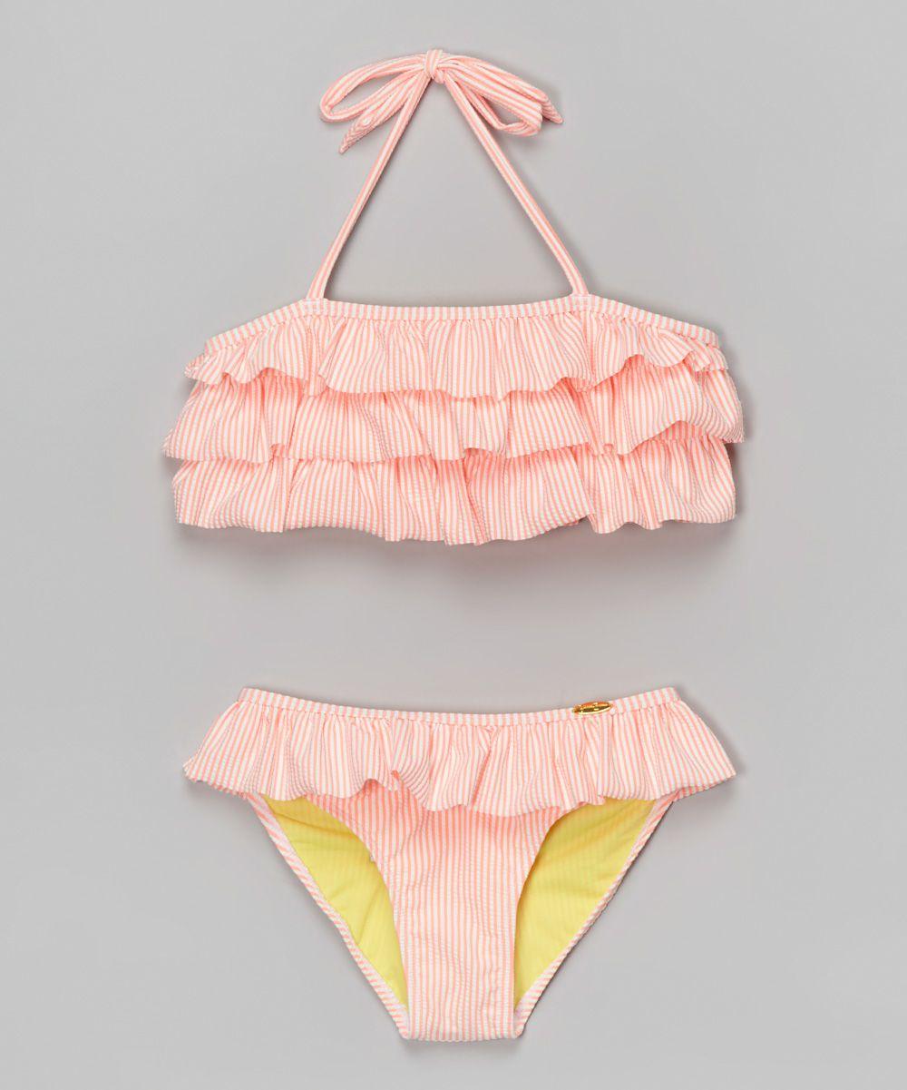 c4b2d3709ea Coral Ruffle Seersucker Bikini - Toddler   Summer   Toddler ...
