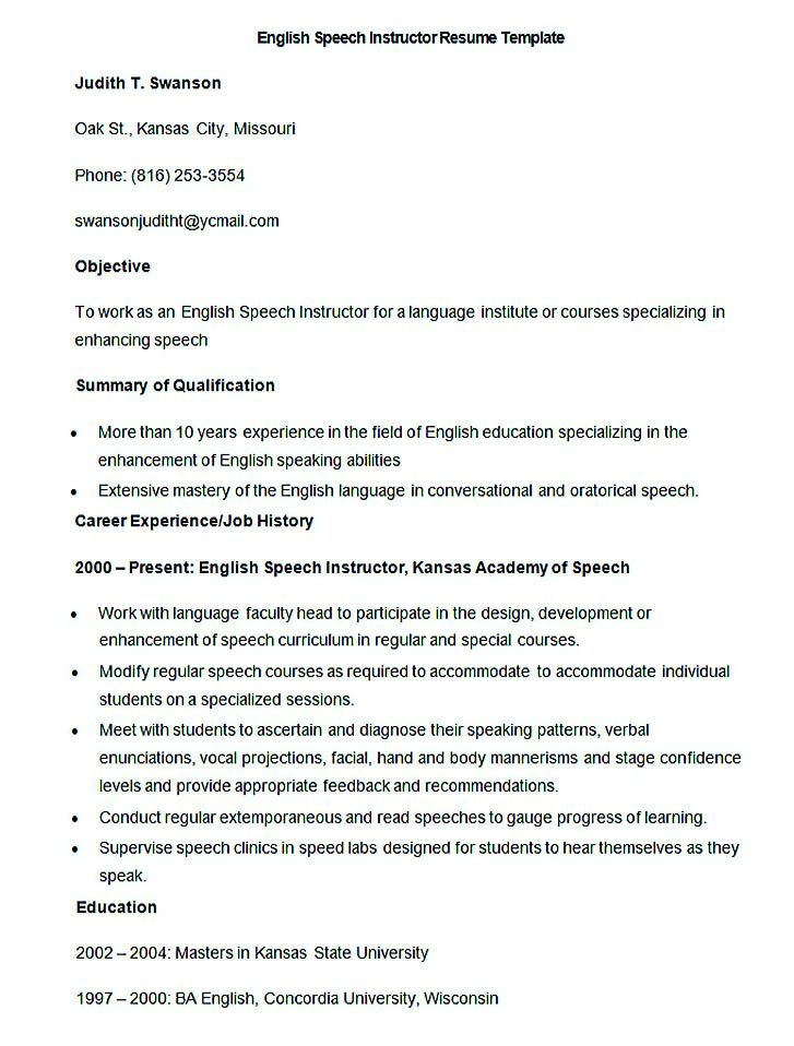 sample english speech instructor resume template   good teachers resume format   writing a