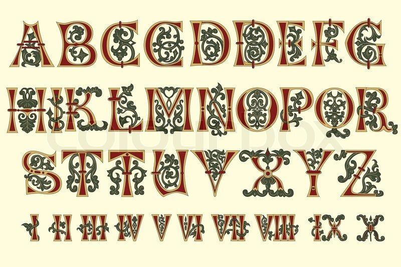 6533534 Alphabet Medieval And Roman Numerals Of The Eleventh Century Jpg 800 533 Leuchtbuchstaben Alphabet Beleuchtetes Manuskript