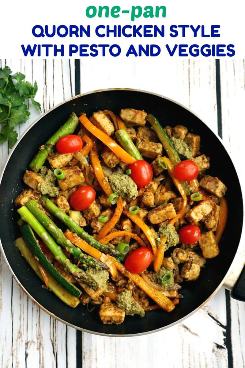 One Pan Pesto Quorn Chicken With Veggies A Light Vegetarian Meal For Everyone To Enjoy It Might Not Have Meat In It But It Quorn Recipes Quorn Chicken Quorn