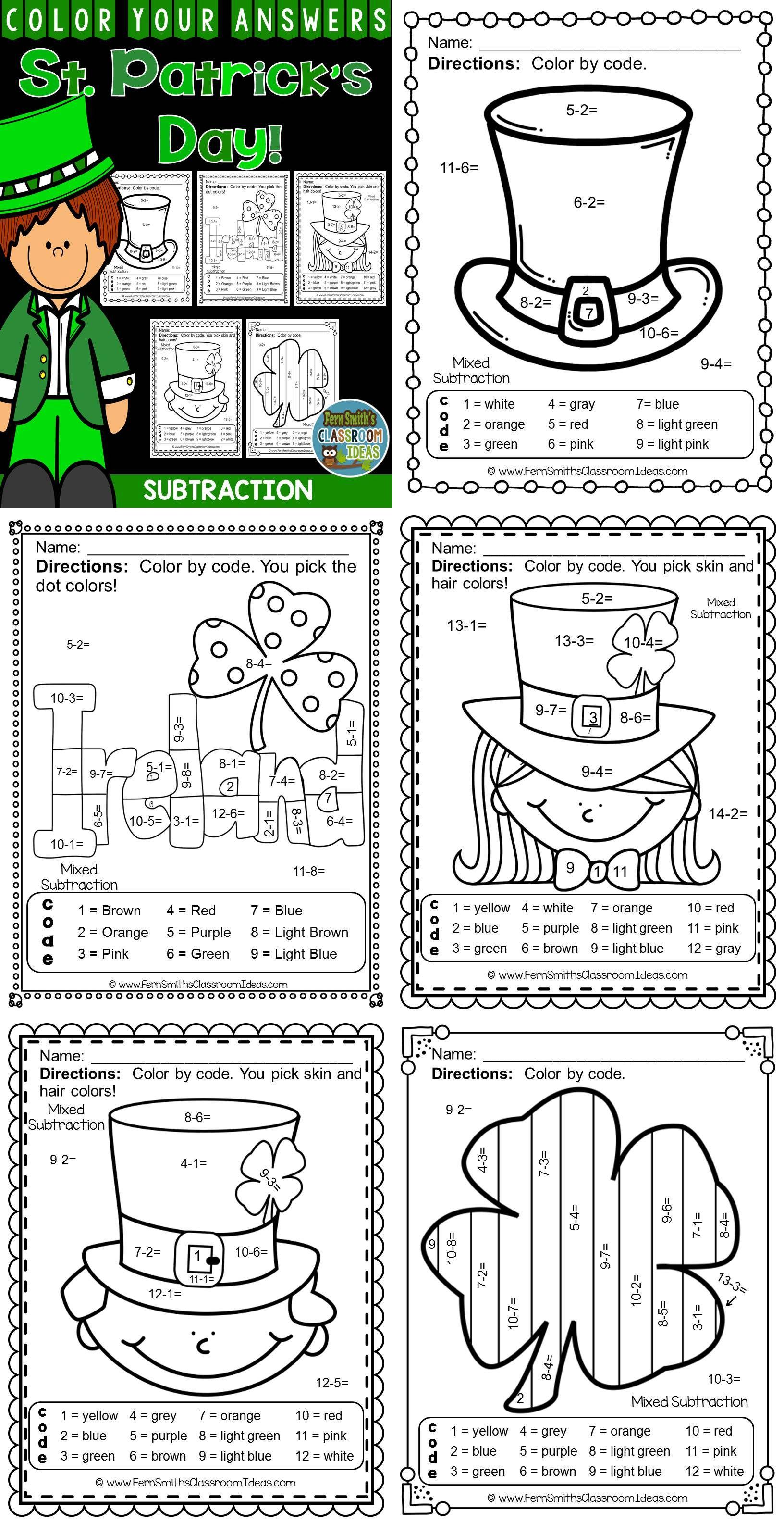 Stpatricks Day Math St Patrick S Day Funky Subtraction