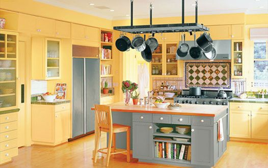 Kitchen, Delighful Kitchen Paint Ideas Yellow And Grey Combination ...