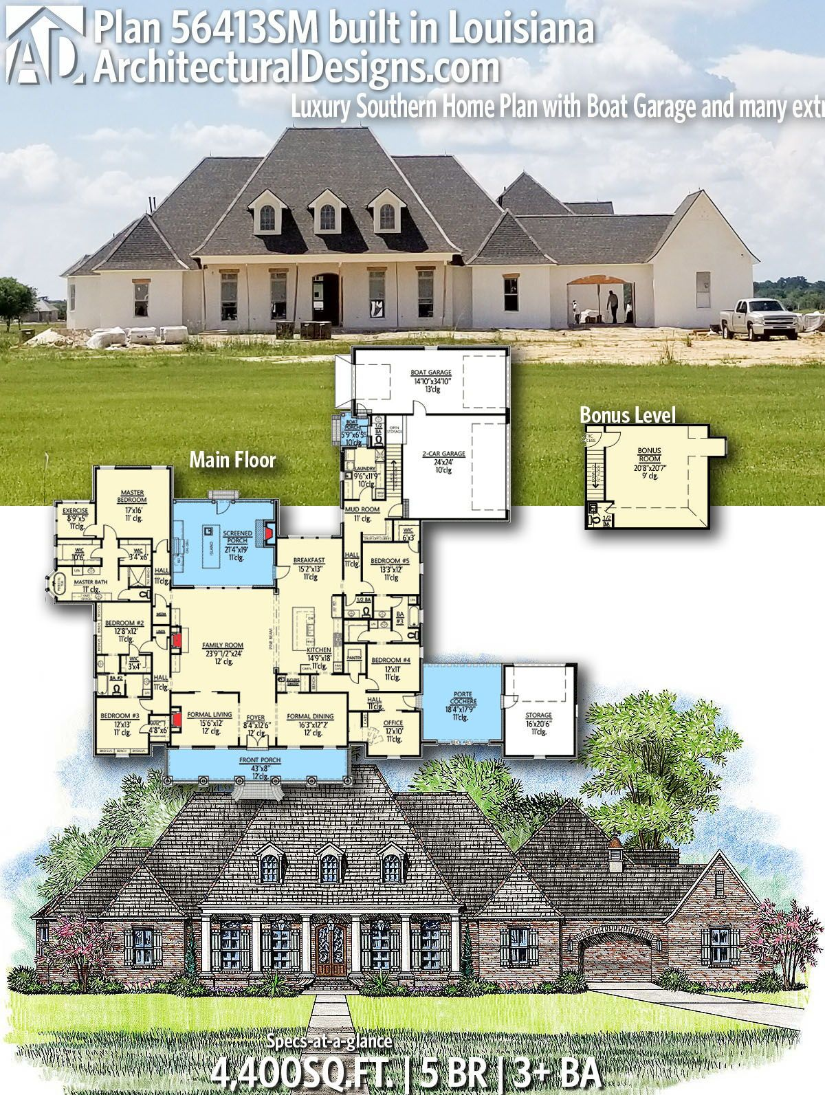 Plan 56413sm Luxury Southern Home Plan With Boat Garage And Many Extras Southern House Plans Acadian House Plans House Plans