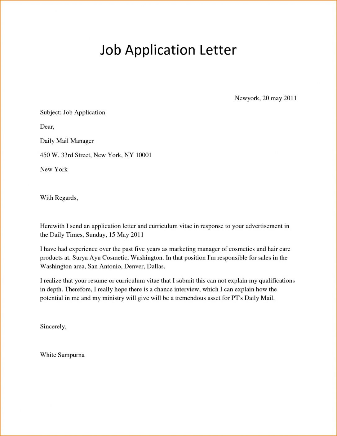 Simple Effective Cover Letter Yorte