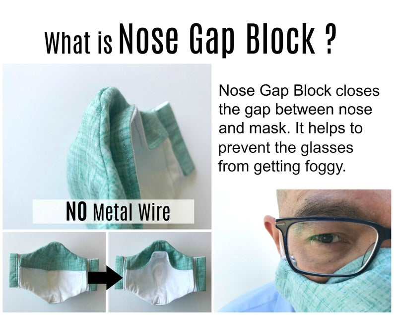 No fog face mask for glasses wearer with filter pocket and
