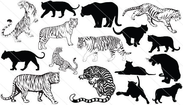Tiger Silhouette Vector Graphics Download Tiger Silhouette Animal Silhouette Tiger Art