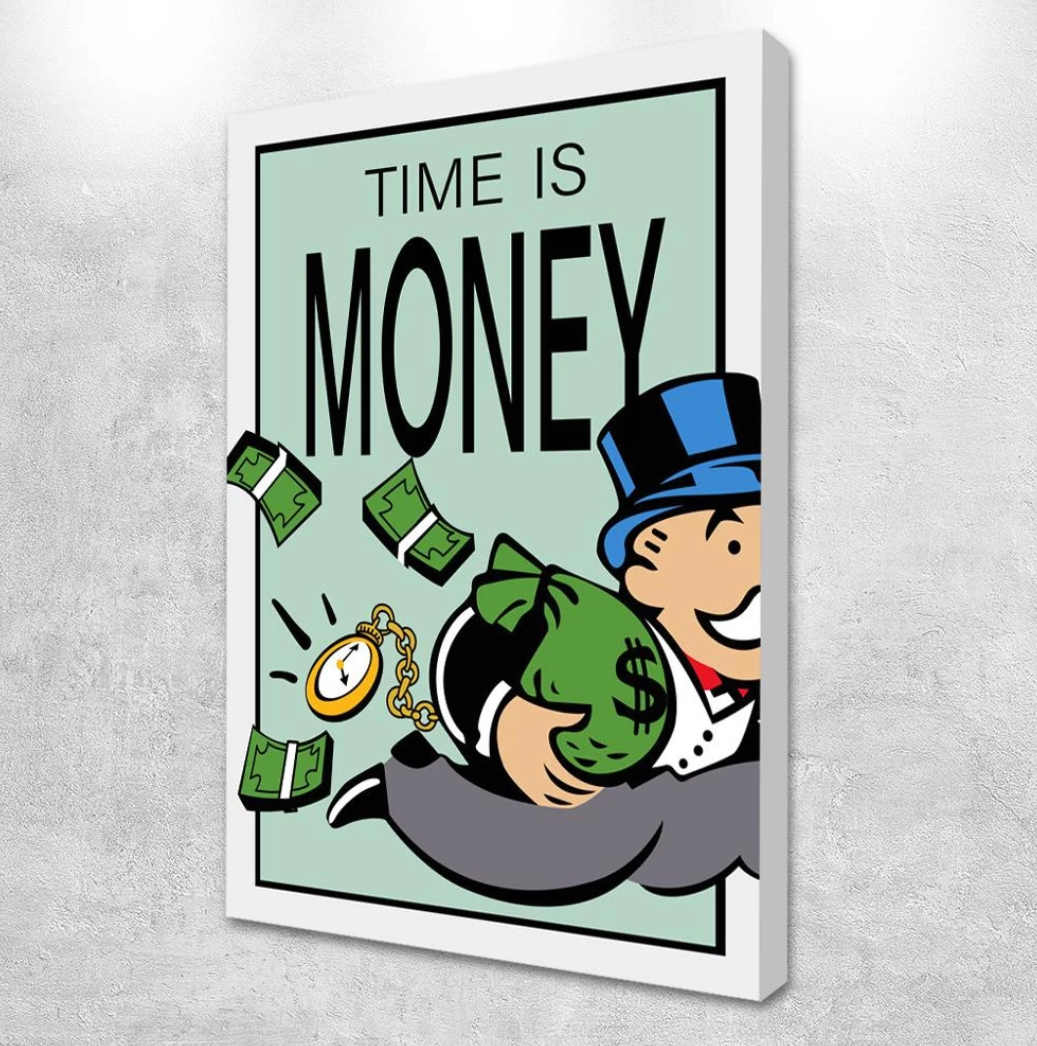 Time Is Money Framed Canvas Wall Art Time Is Money Canvas Wall Art