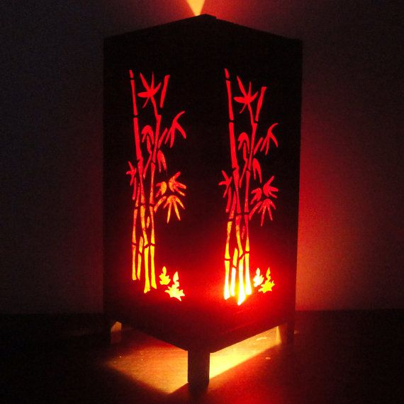 Asian oriental red japanese bamboo trees zen art bedside floor table asian oriental red japanese bamboo trees art bedside table lamp or bedside paper light shades furniture home decor aloadofball Image collections