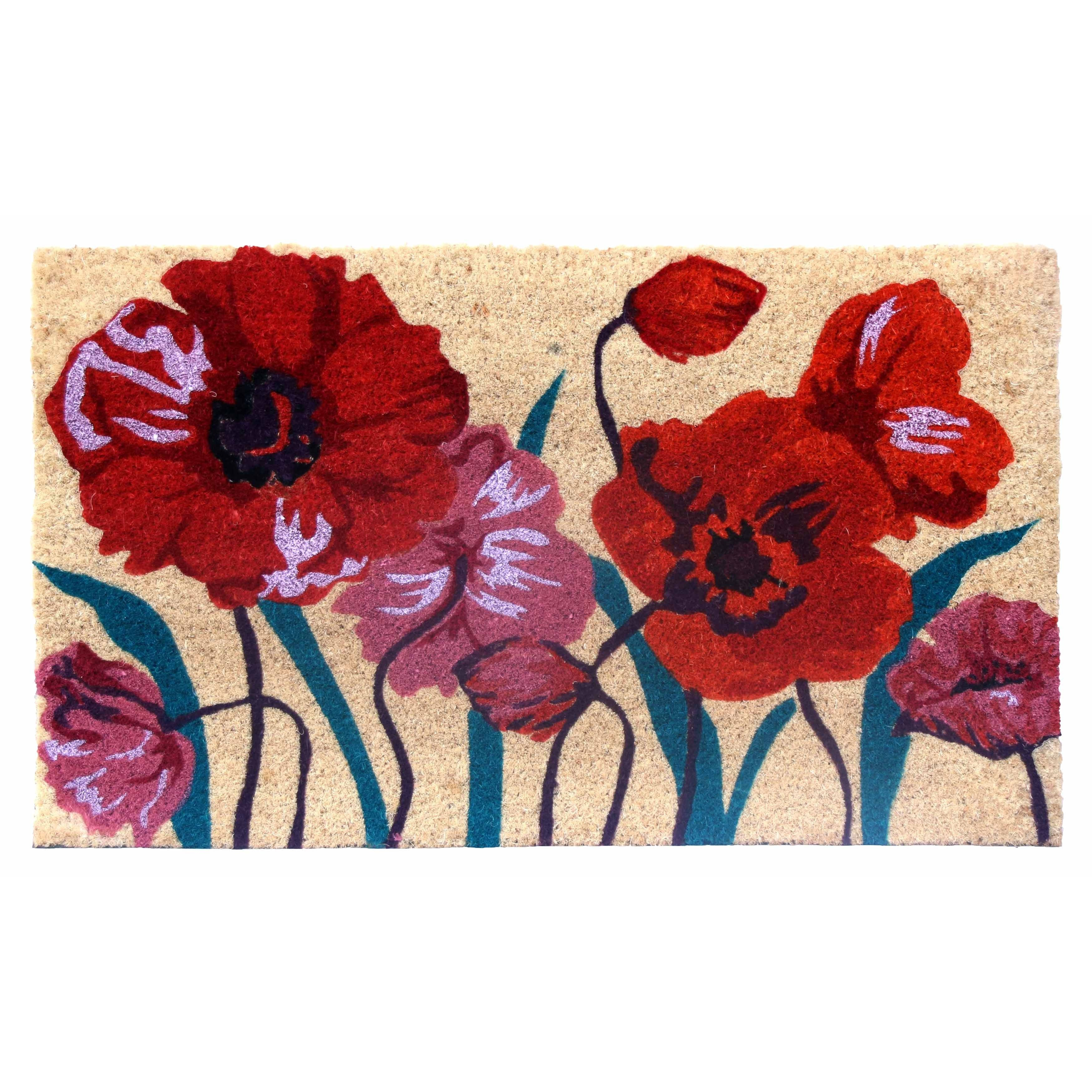 Red/Orange/Mauve Floral Coir Door Mat (17 Inch X 29 Inch) (17x29 Inch),  Natural
