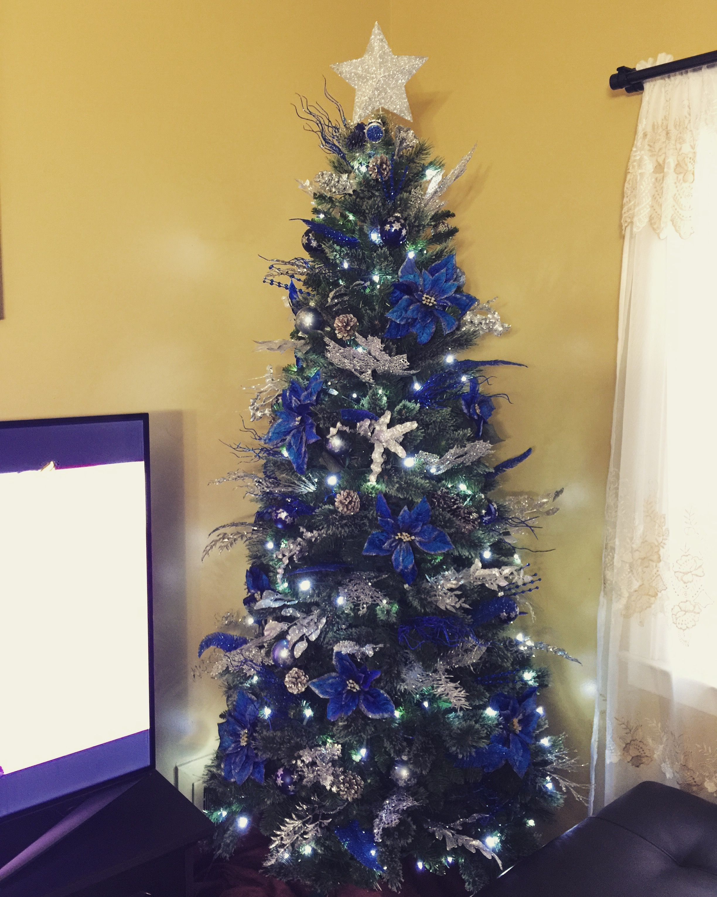 2015 Royal Blue and Silver Christmas Tree decorations