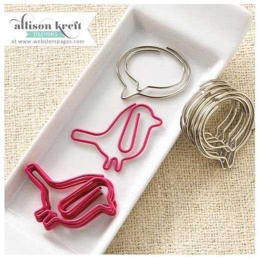 Webster's Pages - Allison Kreft Designs - Hello World - Bird/Bubble Paperclips  Love these for in my diary to mark the important pages!