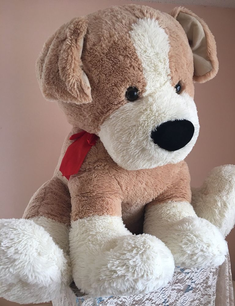 "Jumbo Size Puppy Dog 30"" Super Plush Oversized Red Bow"