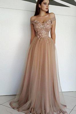 charming appliques aline tulle offtheshoulder floorlength evening dress  sweet 16 kleider