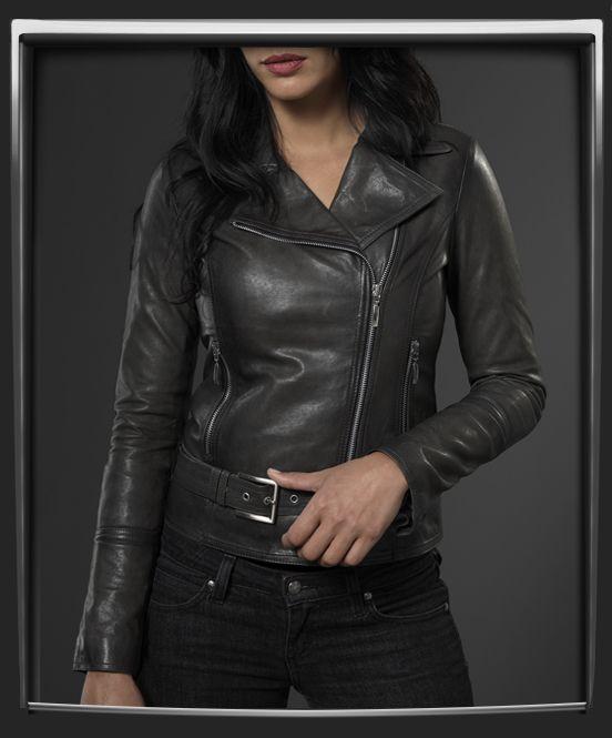 Ladies Black Leather Jacket Classic Biker Style 100/% REAL NAPA LEATHER