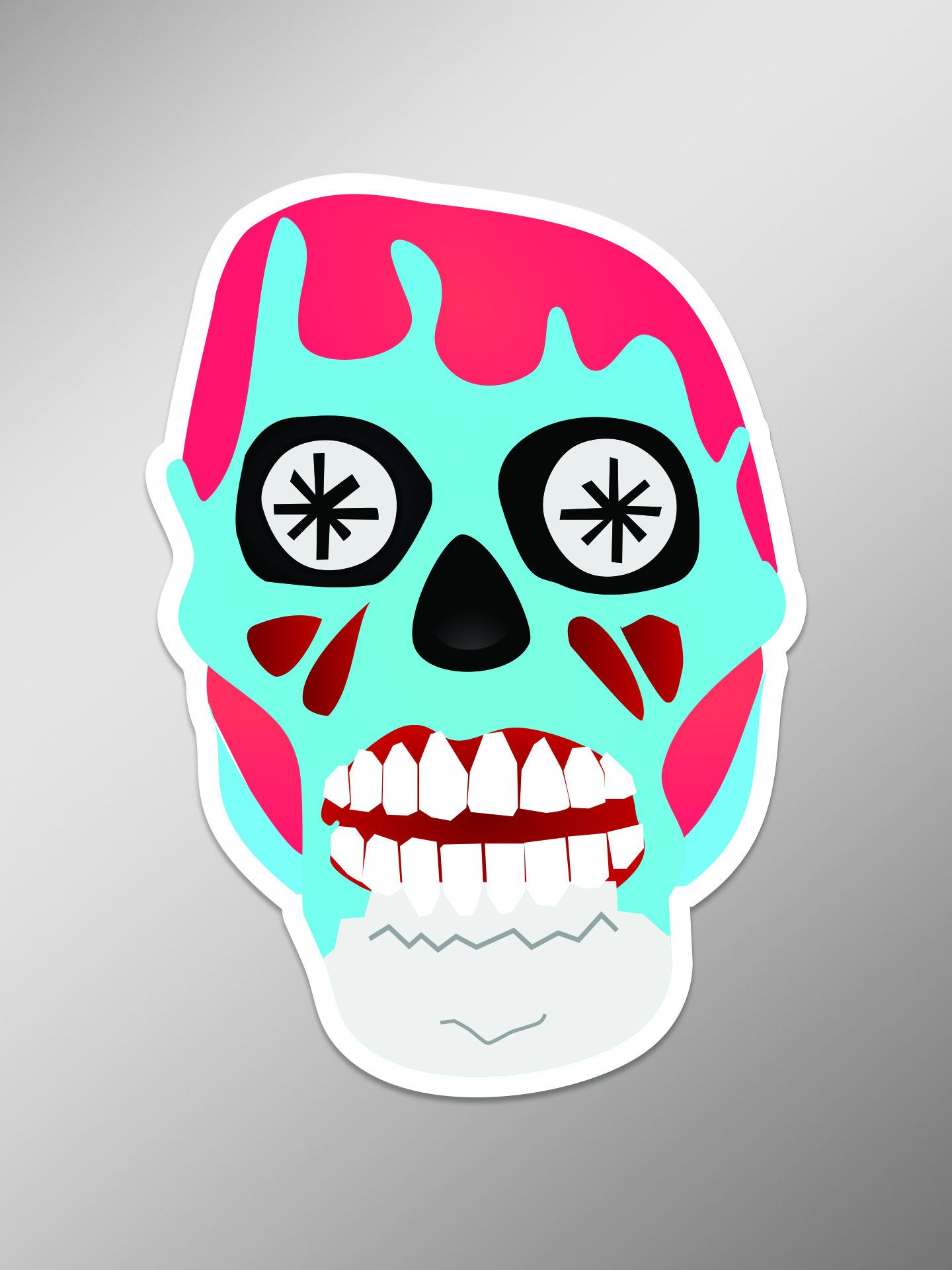 Zombie Sugar Skull Full Color 4 Inch Vinyl Laptop Decal By Castlepeakgraphics On Etsy Laptop Decal Skull Vinyl Decals