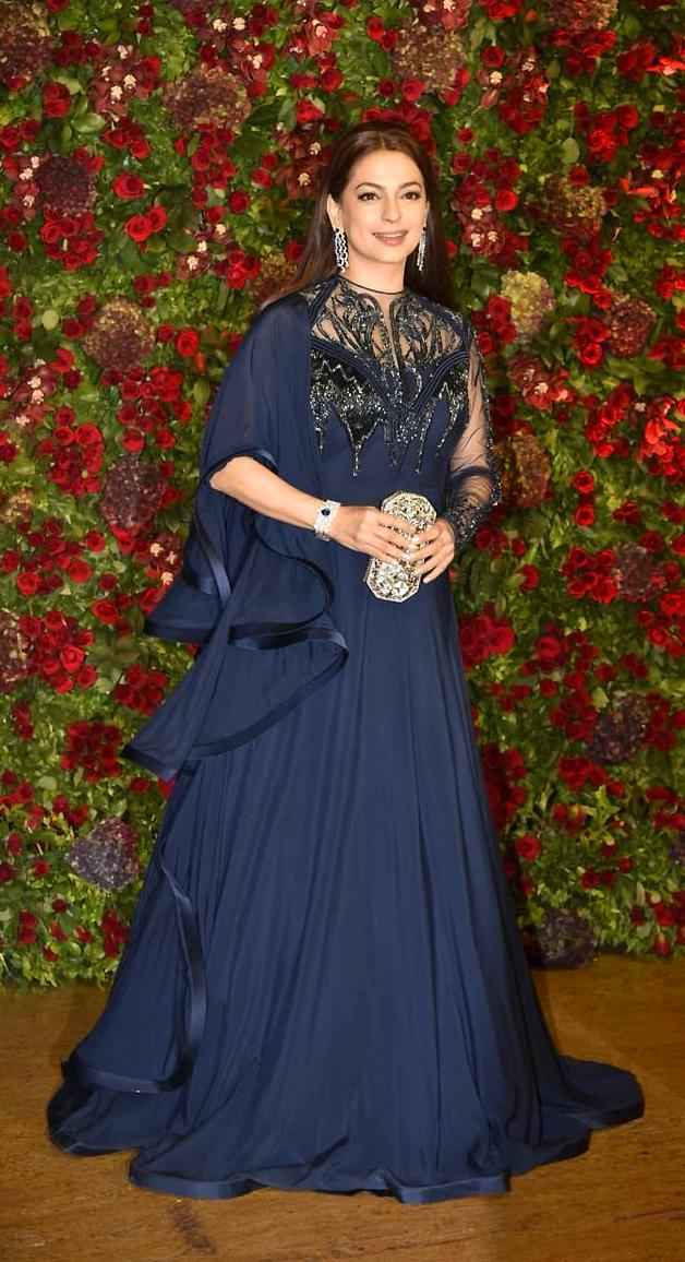 Juhi Chawla in a designer gown at DeepVeer's wedding