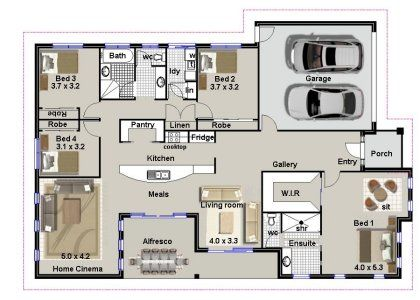 4 Bed 2 Bath Garage House Plans 4 Bedroom House Plans House Floor Plans