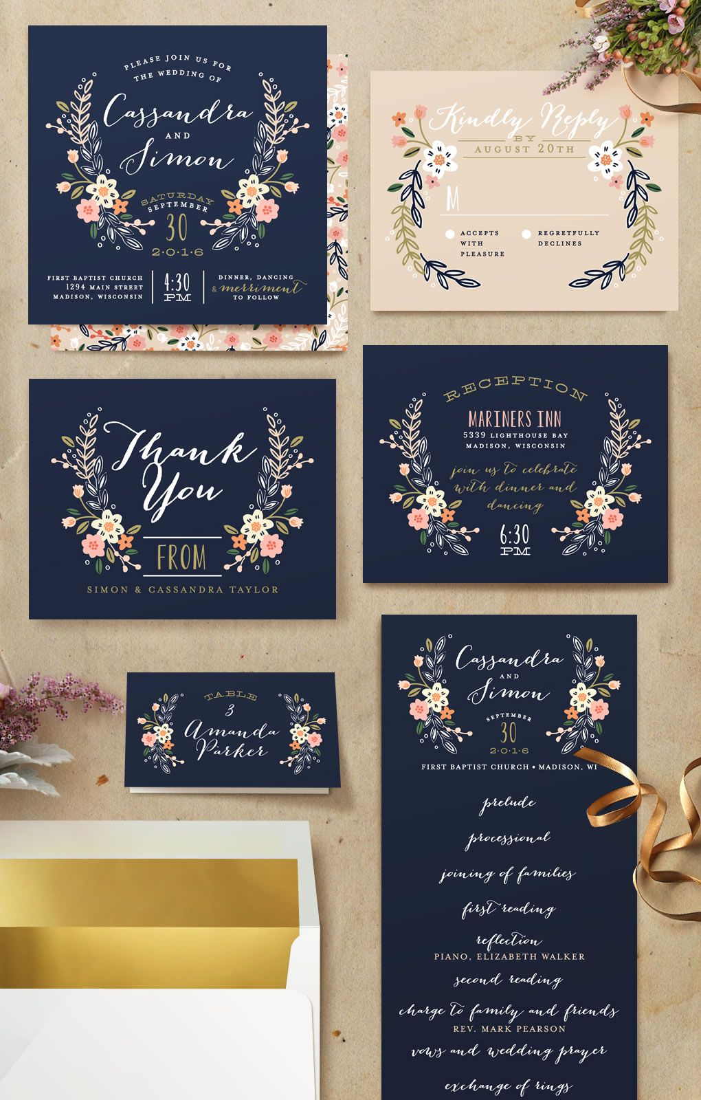 Wildflower Crest Wedding Invitations by Alethea an  Navy