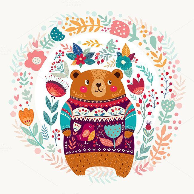 Spring Bear And Floral Bloom Scandinavian Folk Art Cute Art Illustration