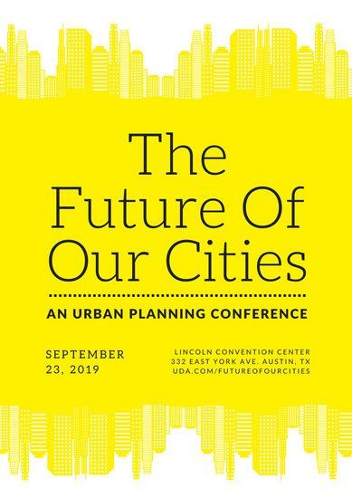 Yellow Skyscrapers Urban Planning Conference Poster  Graphic