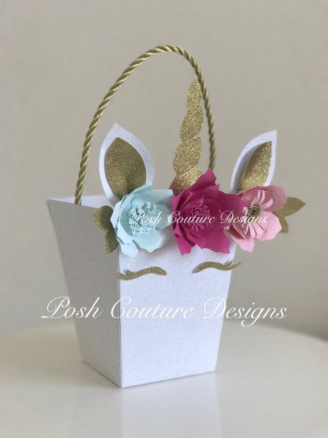 Unicorn Favor Bag/ Unicorn Favor Box/ Unicorn Party/ Unicorn First Birthday/ Unicorn Gift Favor/ Unicorn Display Box/ Unicorn ONE Unicorn Favor Bag/ Unicorn Centerpiece/ Unicorn First Birthday/ Unicorn Birthday/ Unicorn Candy Bag/ Unicorn Baby Shower ~~~~~~Only Seen At Posh Couture Designs~~~~~ ~~~~~~~~Designed Exclusively ~~~~~~ By Posh Couture Designs Make your over the top upscale Unicorn Party even more magical Add an extr...