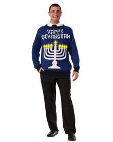 Ugly Hanukkah Sweater Menorah Sweater Yes The Candles Light Up