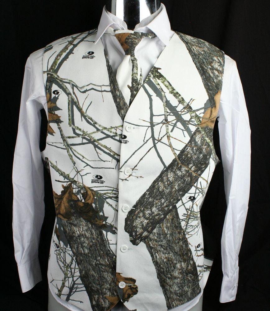 Men\'s Mossy Oak White Camo Tuxedo Vest Winter Brush White Formal ...