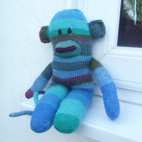 Knitting Pattern Toy Plush Animal Monkey Sidney Sock Monkey