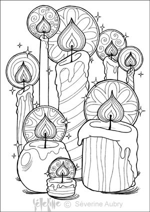 Illustration Of Candles Coloring Sheet