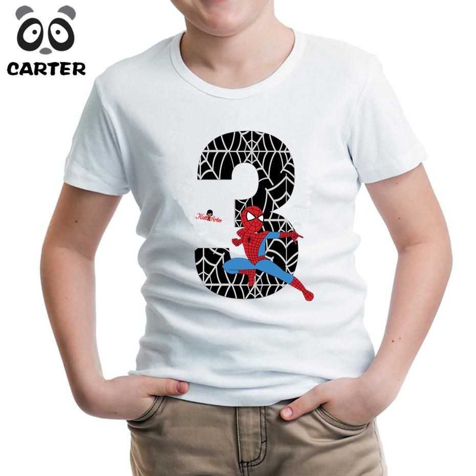 Cartoon Spiderman Number Happy Birthday T Shirts For KidBoy And Girl 3th 4th 5th 6th 7th 8th TopsAdd Your Name Yesterdays Price US 519