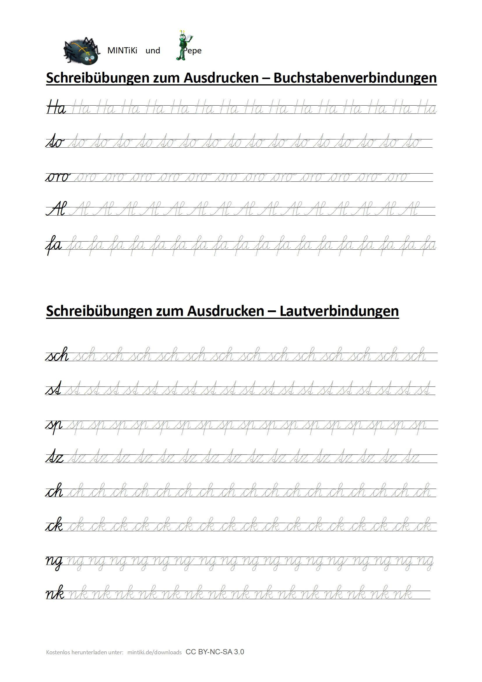 Schreibübungen Für Laut Und Buchstabenverbindungen