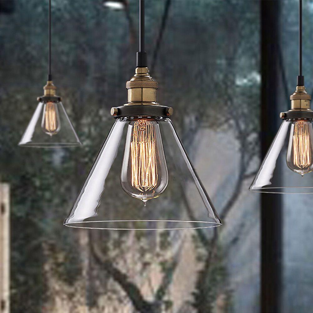 Modern vintage industrial metal glass loft ceiling light pendant glass modern ceiling pendants ebay arubaitofo Images