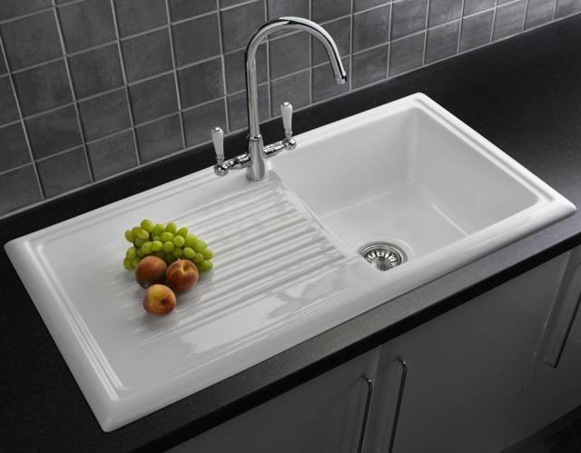 Download Wallpaper White Ceramic Drop In Kitchen Sink