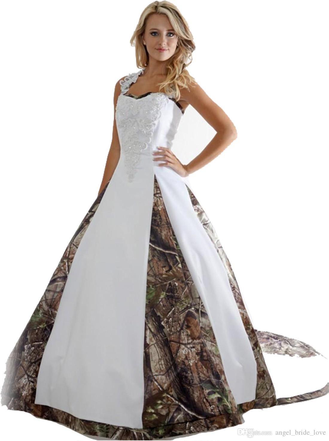 Vintage aline applique lace camo wedding dresses custom
