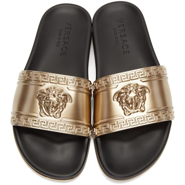 1bac0eb71b VERSACE Medusa Head Beach Slides ( 310) ❤ liked on Polyvore featuring shoes