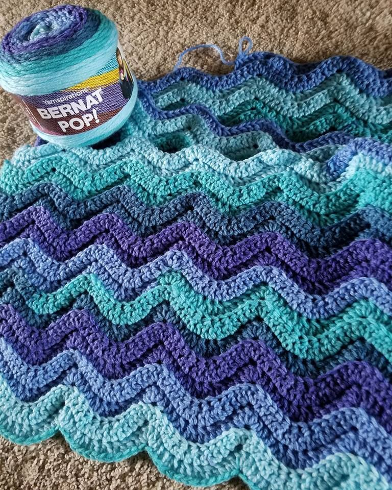 Free Pattern Bright Waves Crochet Throw Crochet Wave Pattern