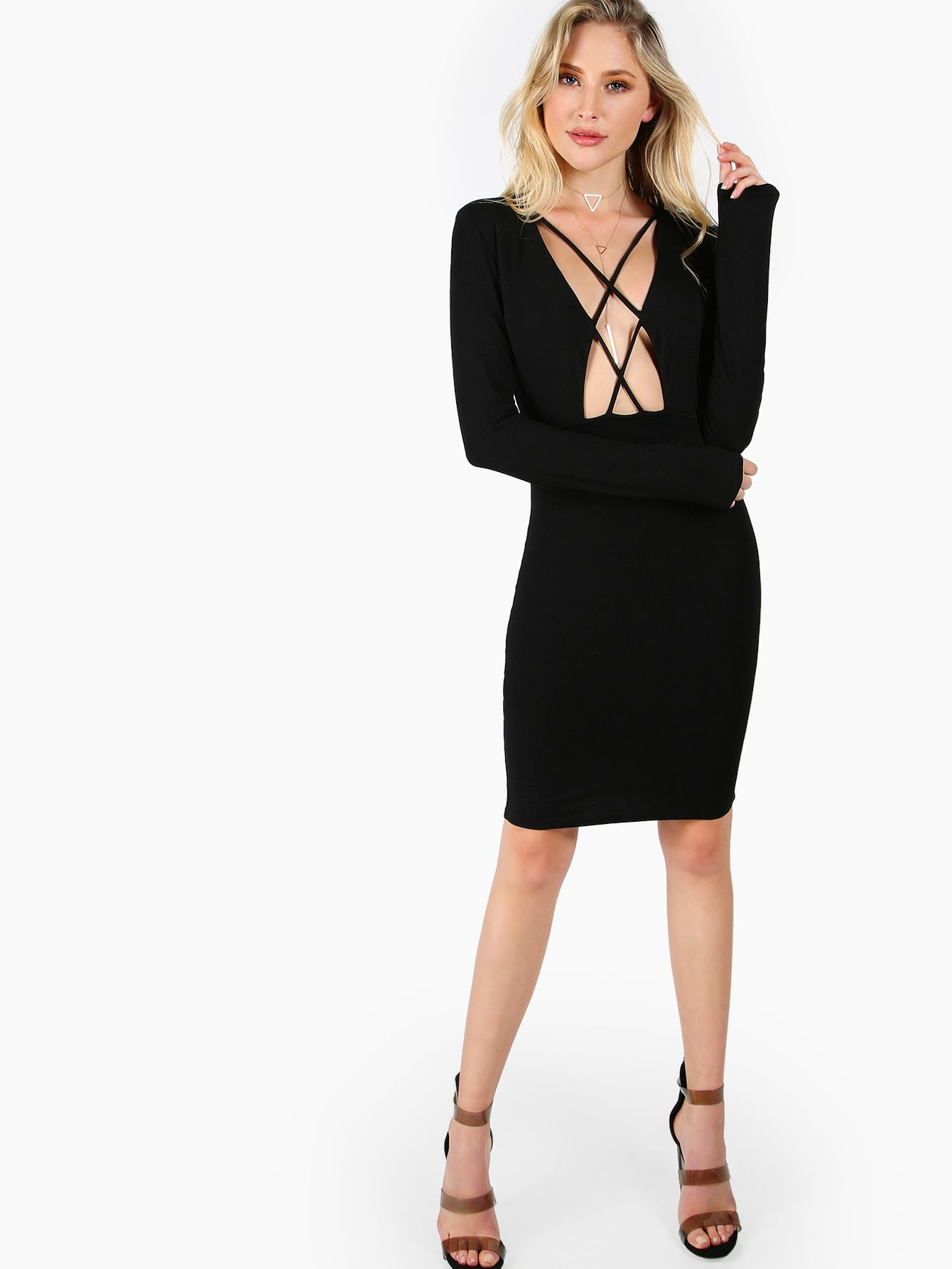 Crisscross Open Front Long Sleeve Sheath Dress -SheIn(Sheinside ... 072b62b72