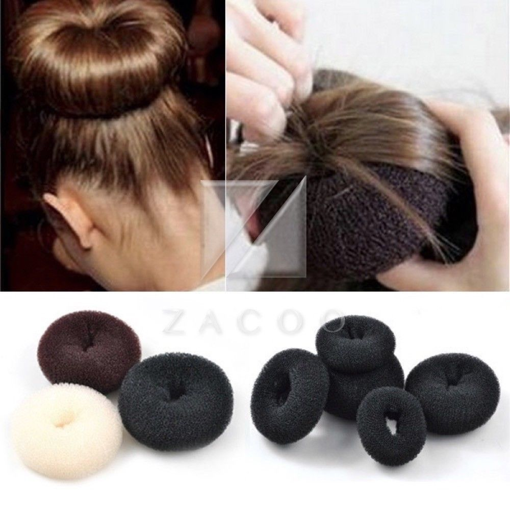 Women Synthetic Fiber Hair Donut Bun Ring Shaper Style Maker Black Brown Wig Penteados Infantis Cabelo Infantil Cabelos Pintados