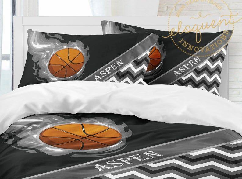 Boys Basketball Bedding Duvet Cover Grey Black White