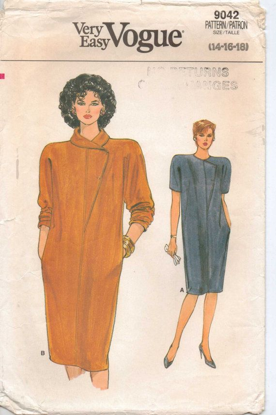 80s Very Easy Vogue Pattern 9042 Womens Chemise Dress Too funny! I ...