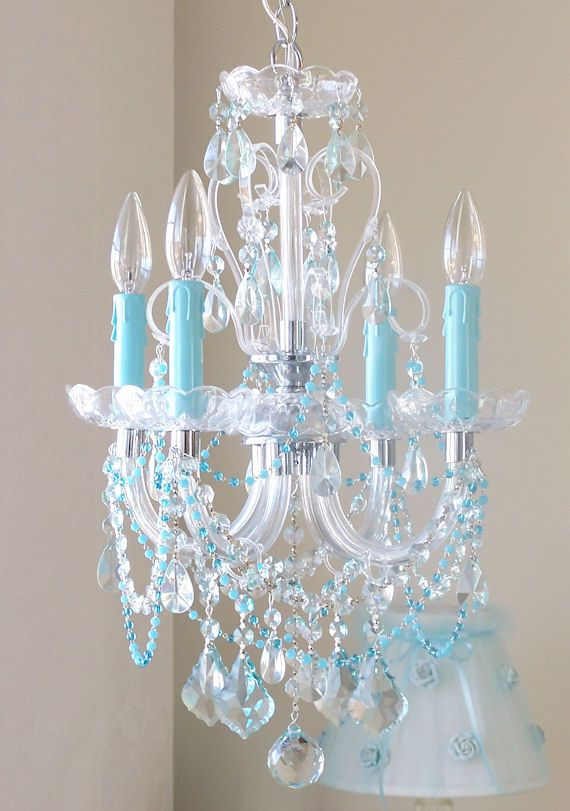 4 Arm Beaded Sea Blue Crystal Chandelier Crystal Chandelier Turquoise Chandelier Blue Chandelier