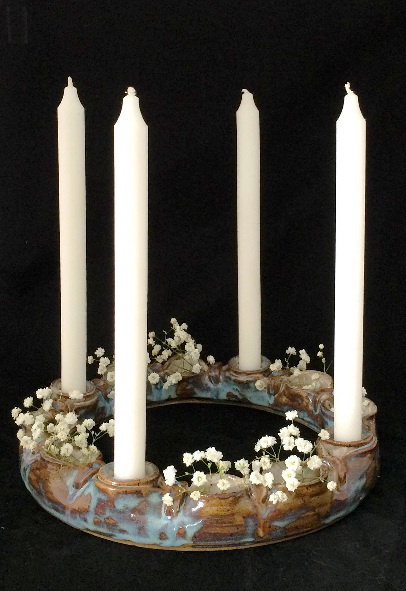 Pottery Wreath Advent Wreath Karenfisherpottery Com Advent Wreath Ceramic Candle Holders Rustic Themed Decor