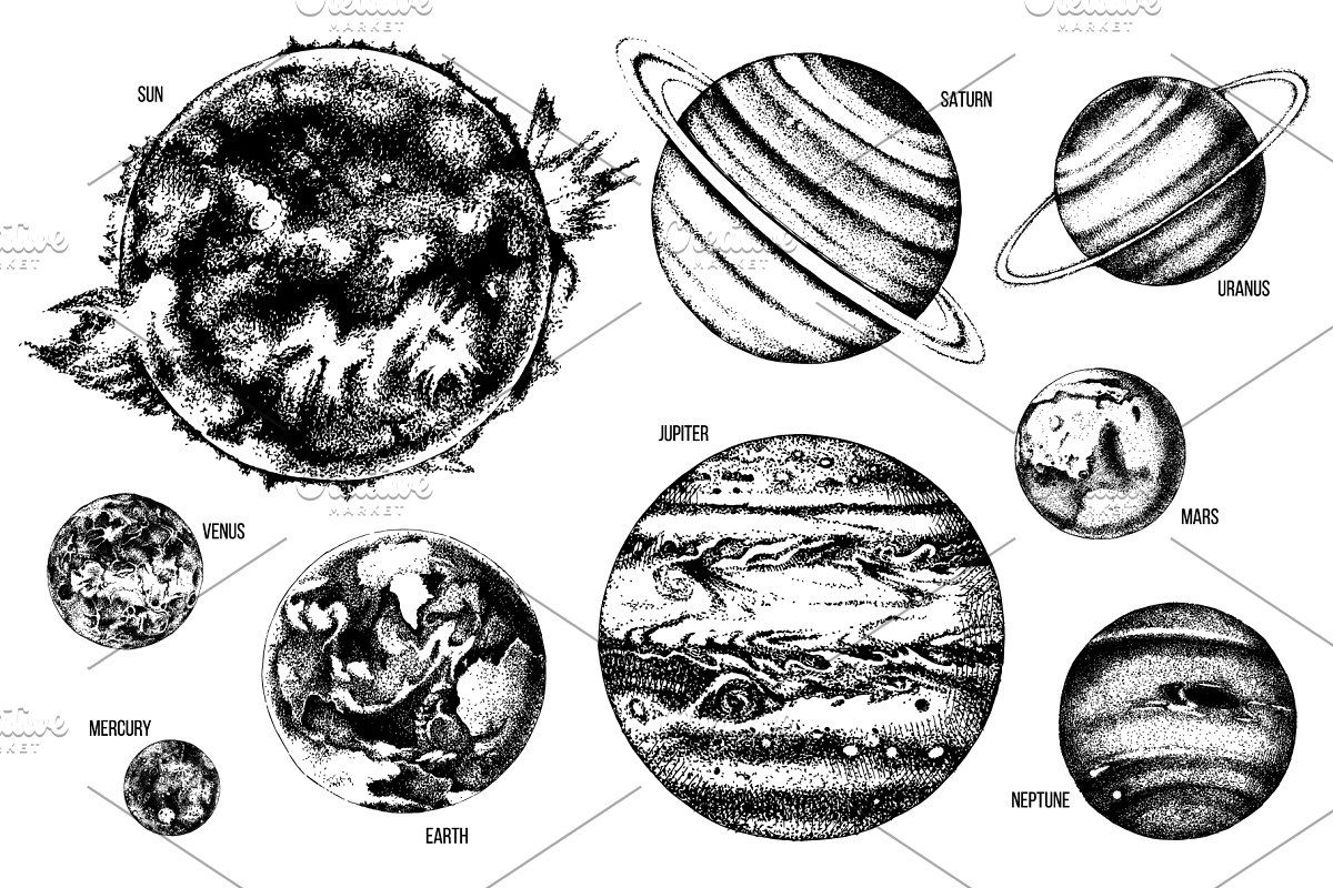Solar System Planet Drawing Solar System Space Drawings
