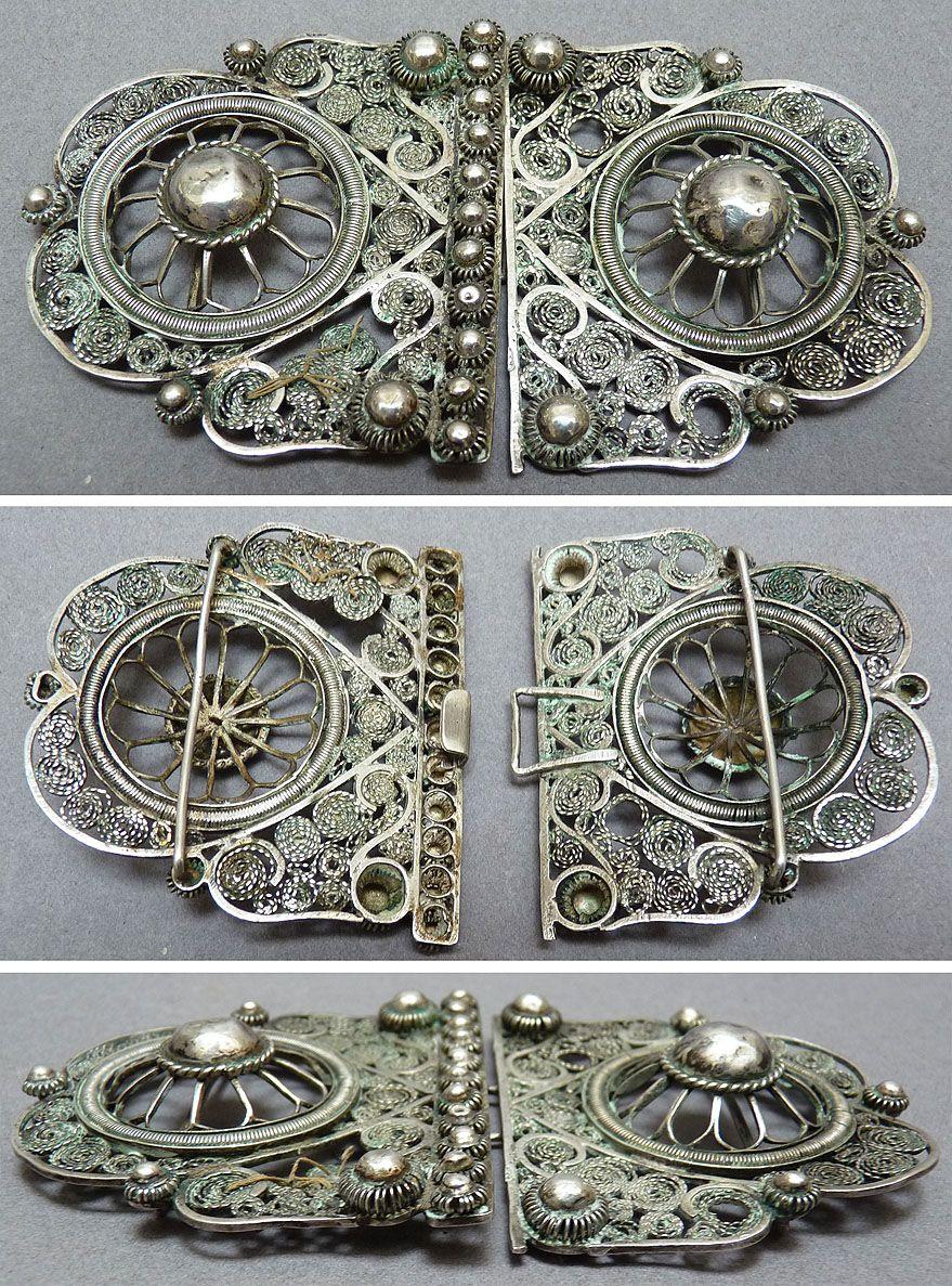 390a5a253f17 Boucle DE Ceinture Argent Massif Filigrane Empire Ottoman Inde   eBay