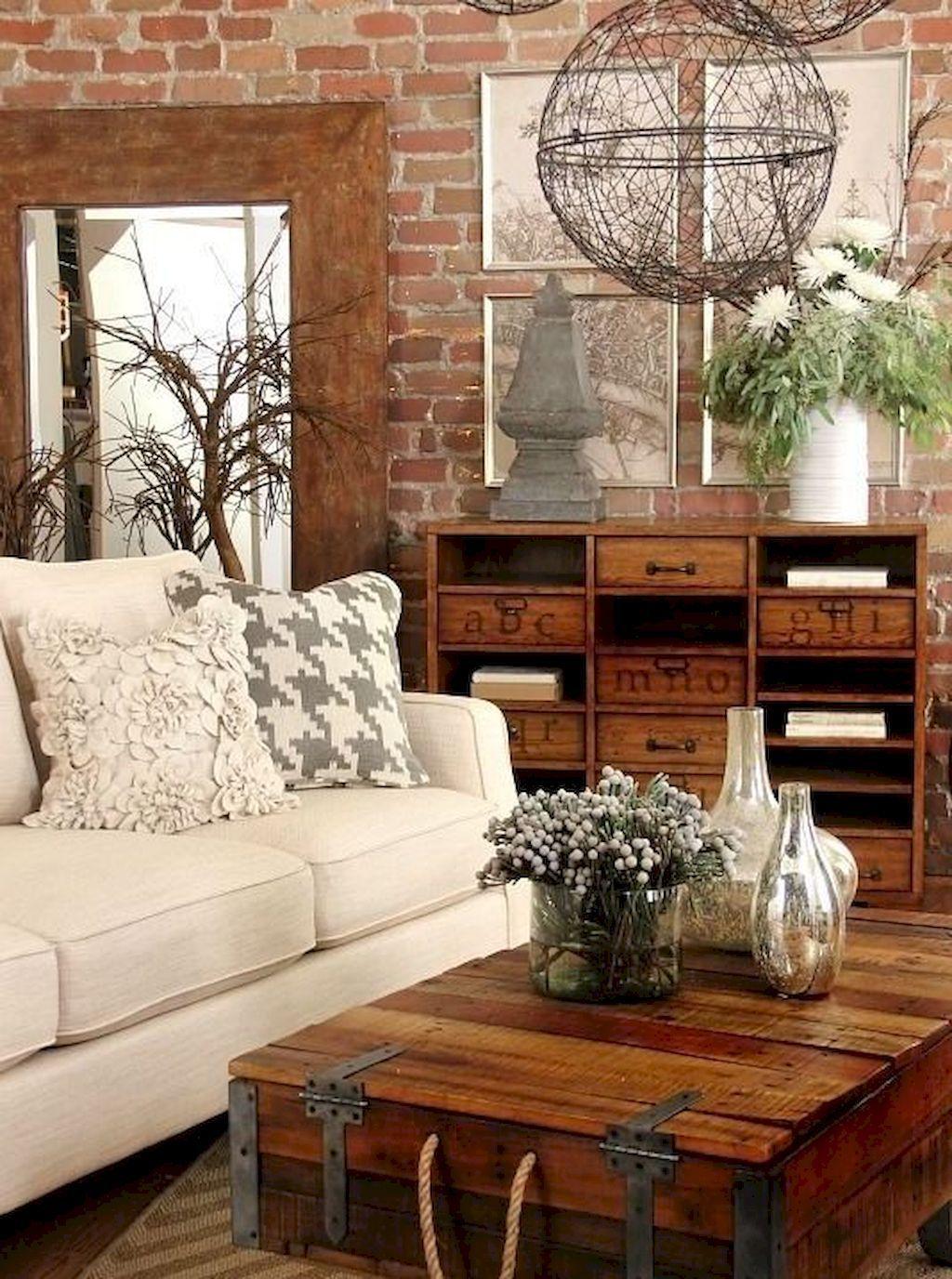 4 Simple Rustic Farmhouse Living Room Decor Ideas: Cozy Farmhouse Living Room Decor Ideas (4)