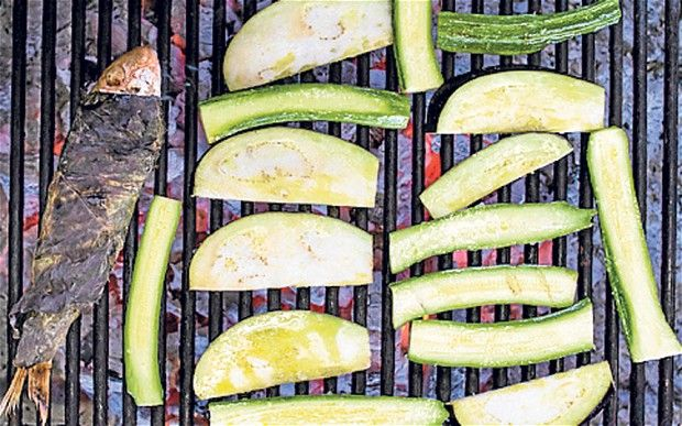 Mezze: grilled courgettes and aubergines with chilli mint and yogurt