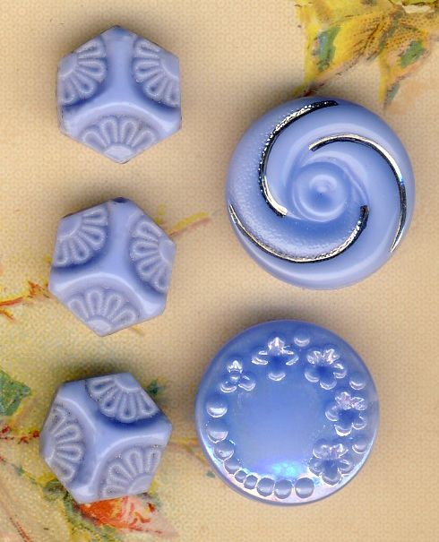 Vintage periwinkle glass buttons - what a beautiful color.