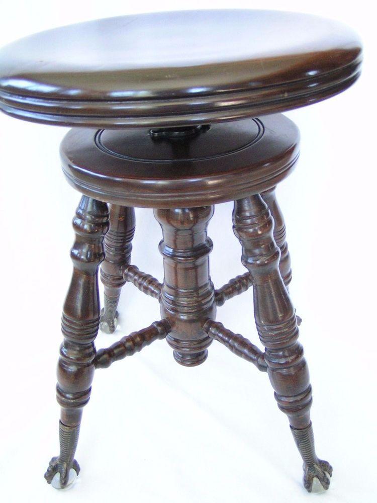 Antique Charles Parker Adjustable Piano Stool Meriden Ct W
