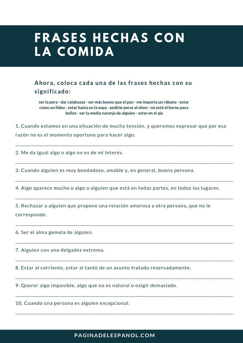 Frases Hechas Con La Comida Frases Hechas Frases Y Español