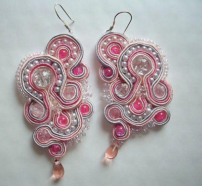 pink pearls soutache earrings